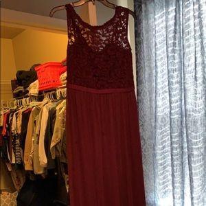 maroon david's bridal bridesmaid dress